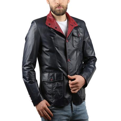 Tafta Leather Jacket // Navy Blue (XS)