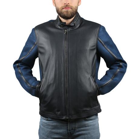 Melinda Leather Jacket // Navy Blue (XS)