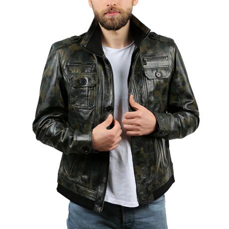 Kamuflaj Leather Jacket // Green (XS)