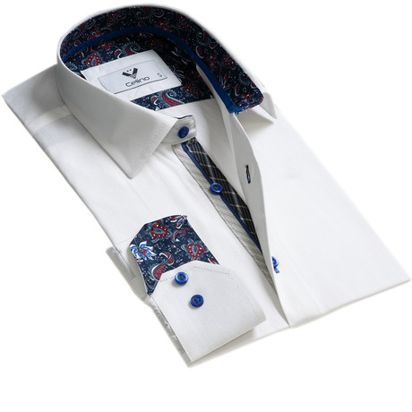 Reversible Cuff Button-Down Shirt // White + Dark Blue Paisley (S)