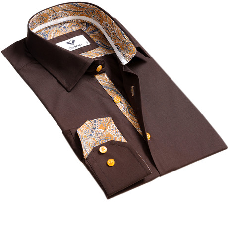 Paisley Reversible Cuff Button Down Shirt // Brown (S)