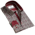 Reversible Cuff Button Down Shirt // Burgundy + Beige (L)