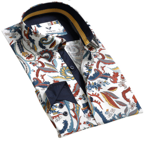 Colorful Floral Reversible Cuff Button Down Shirt // White (S)