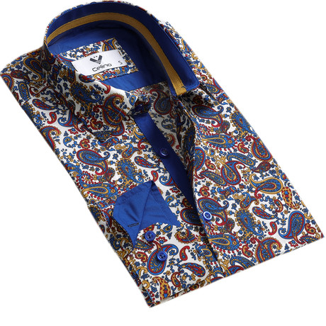 Colorful Paisley Reversible Cuff Button Down Shirt // Multicolor (S)