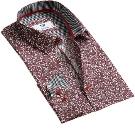 Floral Reversible Cuff Button Down Shirt // Burgundy + White (S)