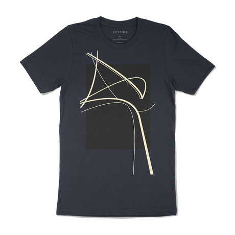 Curved Abstract Graphic T-Shirt // Navy (S)