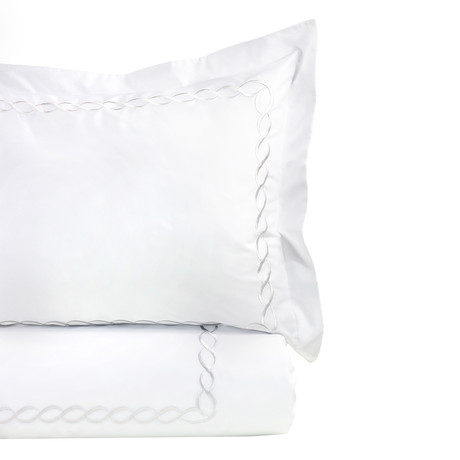 Rope Embroidered Duvet Set // 600TC // White (Full/Queen)