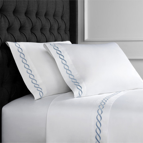 Rope Embroidered Sheet Set // 600TC // Blue (Full)