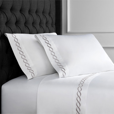 Rope Embroidered Sheet Set // 600TC // Gray (Full)