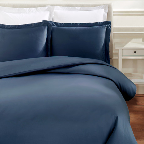 Hemstitch Duvet Set // 600TC // Navy (Full/Queen)