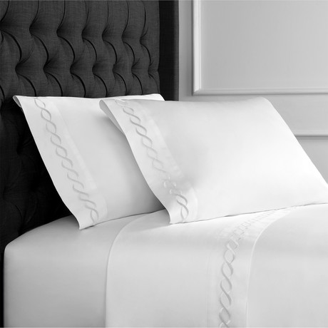 Rope Embroidered Sheet Set // 600TC // White (Full)