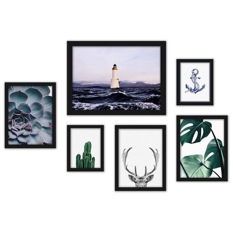 Contemporary Mixed Art Gallery Wall Set
