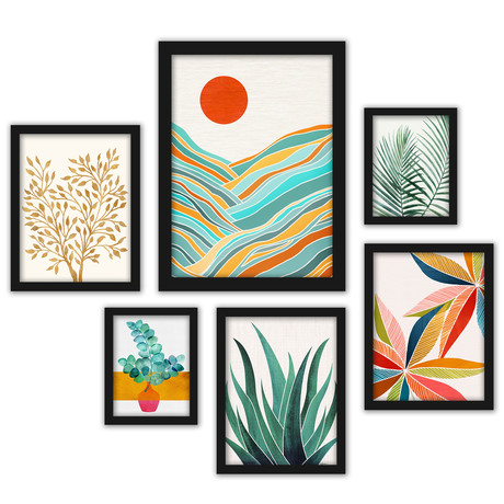Modern Tropical Framed Gallery Wall Set VI