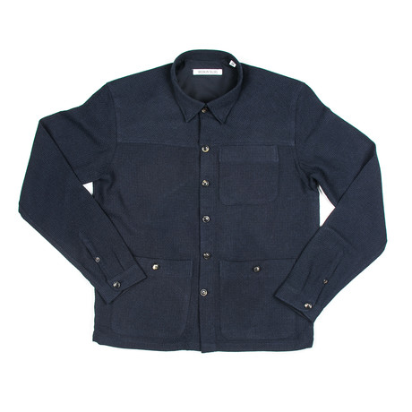 BKT15 Shirt Jacket // Navy Open Weave (XS)