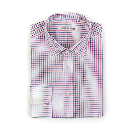 BKT20 Dress Shirt // White + Blue + Pink Grid (XS)