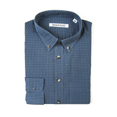 BKT10 Sport Shirt // Gray + Navy Grid (XS)