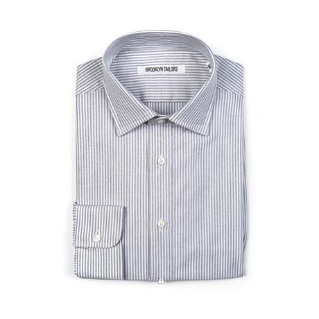BKT20 Dress Shirt // White + Gray Oxford Stripe (XS)