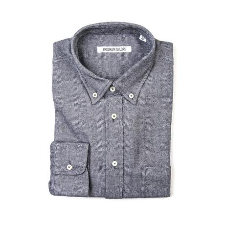 BKT10 Sport Shirt // Off-White + Charcoal Brushed Herringbone (XS)