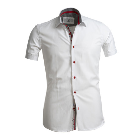 Short Sleeve Button Up // Solid White II (S)