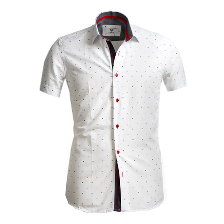 Short Sleeve Button Up // White + Black + Red (S)