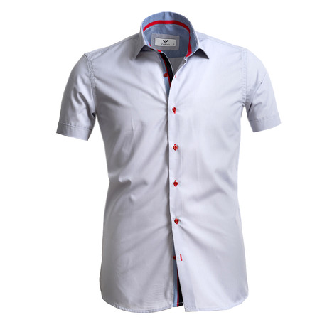 Short Sleeve Button Up // Solid Light Gray (S)
