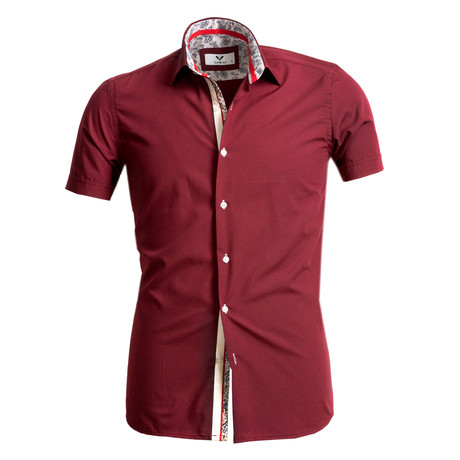 Short Sleeve Button Up // Solid Burgundy (S)
