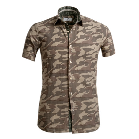Short Sleeve Button Up // Camouflage Green (S)