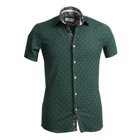 Short Sleeve Button Up // Green Paisley (S)