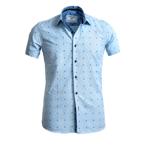 Short Sleeve Button Up // Blue Squares (S)