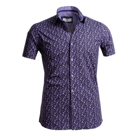 Short Sleeve Button Up // Purple (S)