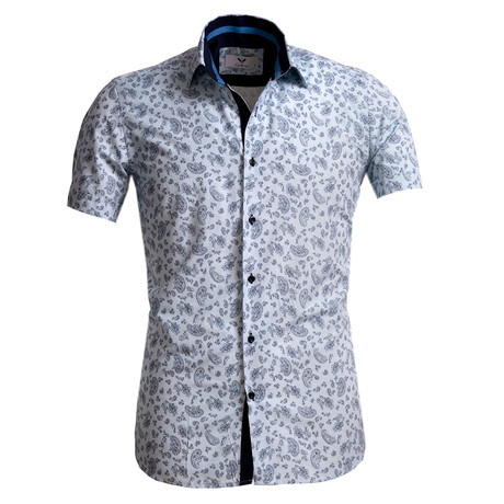 Short Sleeve Button Up // Light Blue Paisley (S)