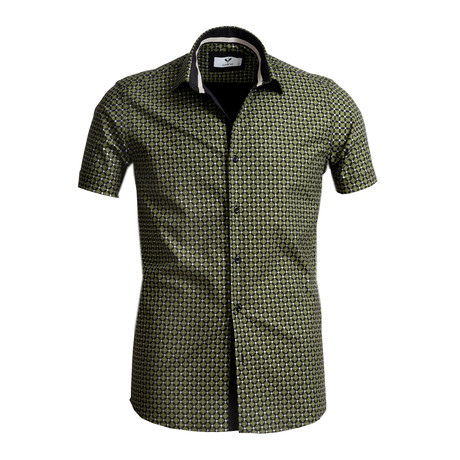 Short Sleeve Button Up // Black + Green Clovers (S)
