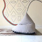 Handloom Cotton Beanbag // Unfilled // Calcite + Charcoal