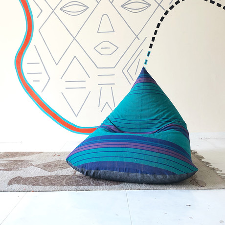 Handloom Cotton Beanbag // Unfilled // Andromeda + Charcoal