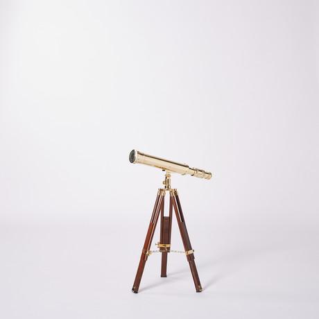 Brass Telescope // Hardwood Tripod // 19-inch