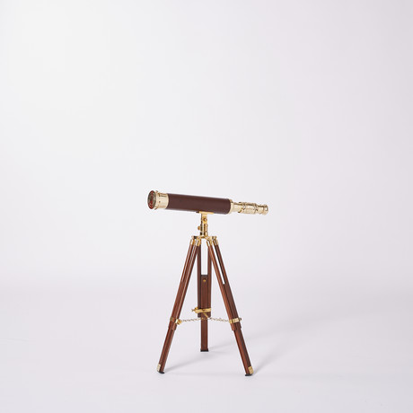 Leather Sheathed Telescope // Hardwood Tripod // 19-incH