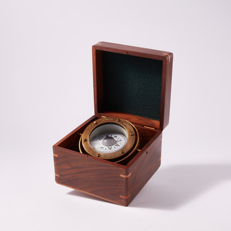 Engravable Antique Nautical Brass Gimbaled Compass in Wooden Box