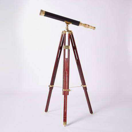 Engravable Leather Sheathed Harbormaster Brass Telescope // Hardwood Tripod // 30-inch