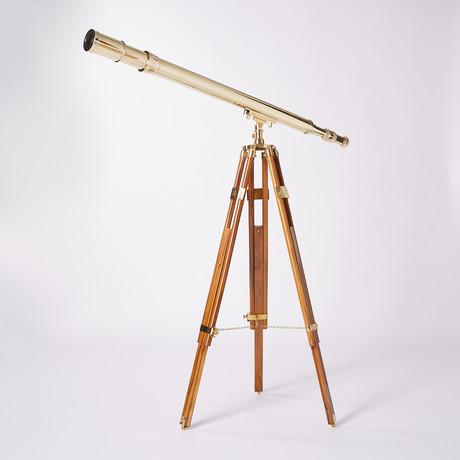 Polished Harbormaster Telescope // Teak Tripod // 44-inch