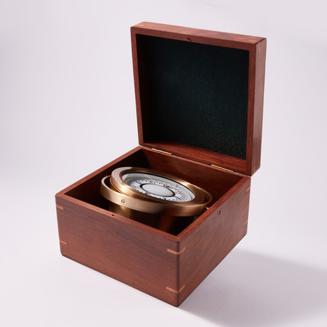 Engravable Large Nautical Brass Desk Compass in Wooden Box