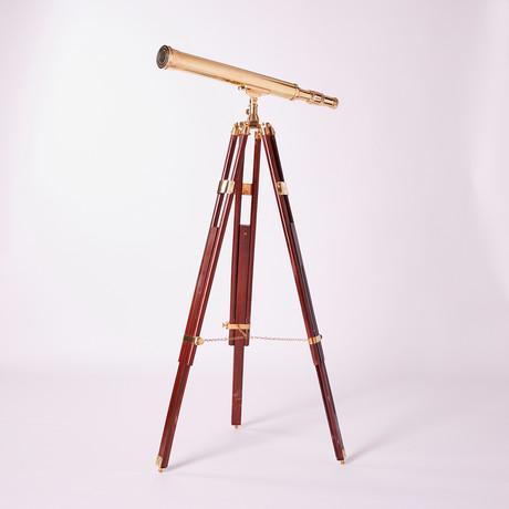 Brass Telescope // Hardwood Tripod // 30-inch