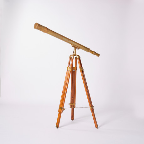 Antique Harbormaster Telescope // Teak Tripod // 44-inch