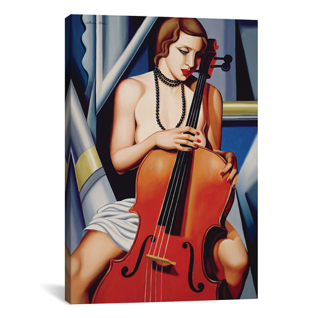 """Woman With Cello // Catherine Abel (26""""W x 40""""H x 1.5""""D)"""