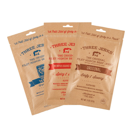 Three Jerks Jerky // Grass Fed Beef 3- Flavor Pack + Filet Mignon 3-Flavor Pack // 6 Bags