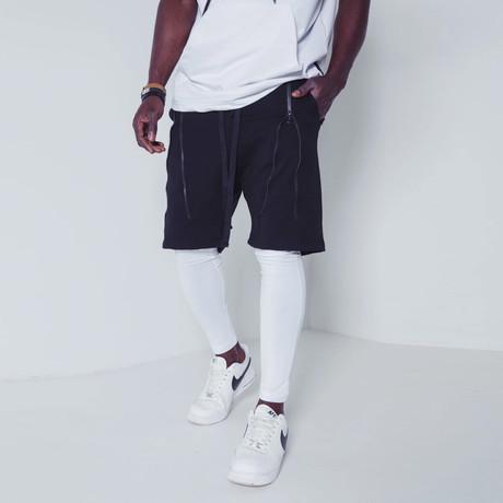Inset Shorts Leggings // Black + White (S)