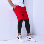 Inset Shorts Leggings // Red (M)
