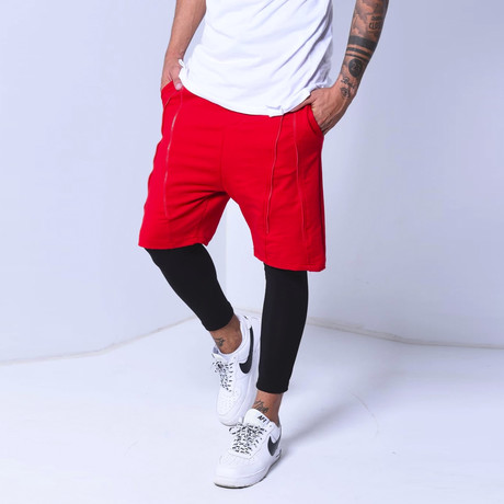 Inset Shorts Leggings // Red (S)