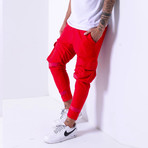 Cargo Jogger Sweatpants // Red (S)