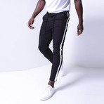 Jogger Jeans + Side Stripes // Black + White (32WX32L)