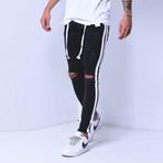 Skinny Jeans + Side Stripes // Black + White (30WX30L)
